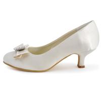 Fashion shoes A2000 Ivory Bow Rhinestone Round Toe 2.5inch  Satin Pumps Women Wedding Bridal Shoes