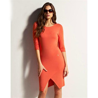 2014 new fashion o-neck dresses pure color half sleeve Slim thin women dress