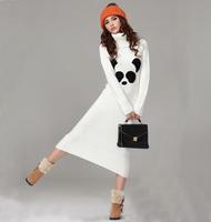 Free shipping 2014 Winter  Women Dress cute panda white long sweater Turtleneck  Sweater Dress Long-Sleeve Ankle-Length