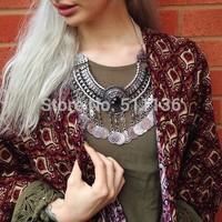2014 Hotest Fashion Tassel Boho Coin Necklace Colar turco Fashion Indian Neklace Boho Jewelry for Woman  KK-SC754 free shipping