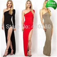 2014 long-sleeve fork sexy full dress evening dress