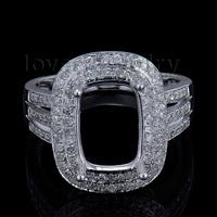 New Popular Solid 14Kt White Gold Diamond Engagement Semi mount Ring Cushion 8x11mm BAB1417