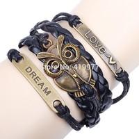 New Fashion Handmade Unisex Vintage Alloy Infinity Bronze Owl Leather Friendship Love Dream Words Letters Bracelet