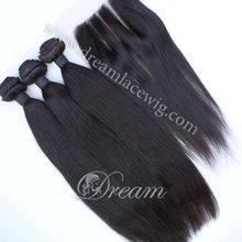 Hot Selling In Aliexpress 6A Peruvian Virgin Human Hair Silky Straight Extension With Closure 3way/part 4pcs/lot Free Shipping(China (Mainland))