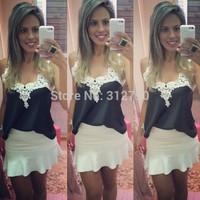 White lace patchwork V-neck blouse women sleeveless chiffon blusas free shipping