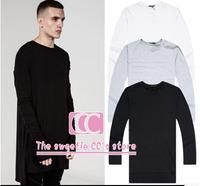 Fashion Lengthen Irregular Hem Men Men Basic T-shirts / Hip Hop Extended Split Long Sleeve Men Tee / Black White Gray S-XXL