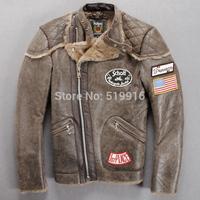 Schott genuine leather clothing flight suit stand collar oblique zipper wool fur one piece machine car service Men