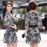JSS5190   New  2014  Autumn Casual Dress  Temperament Printed Chiffon  Dresses Women Loose  Vestidos