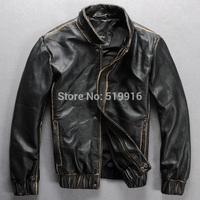 Ruslana korshunova cool handmade edging sheepskin genuine leather clothing men's 933 motorcycle leather jacket