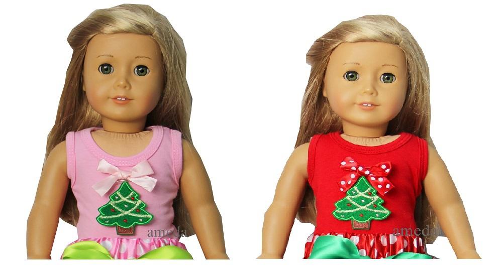 "18"" American Doll Christmas Green Tree Light Pink / Red Tank Top Tee(Hong Kong)"