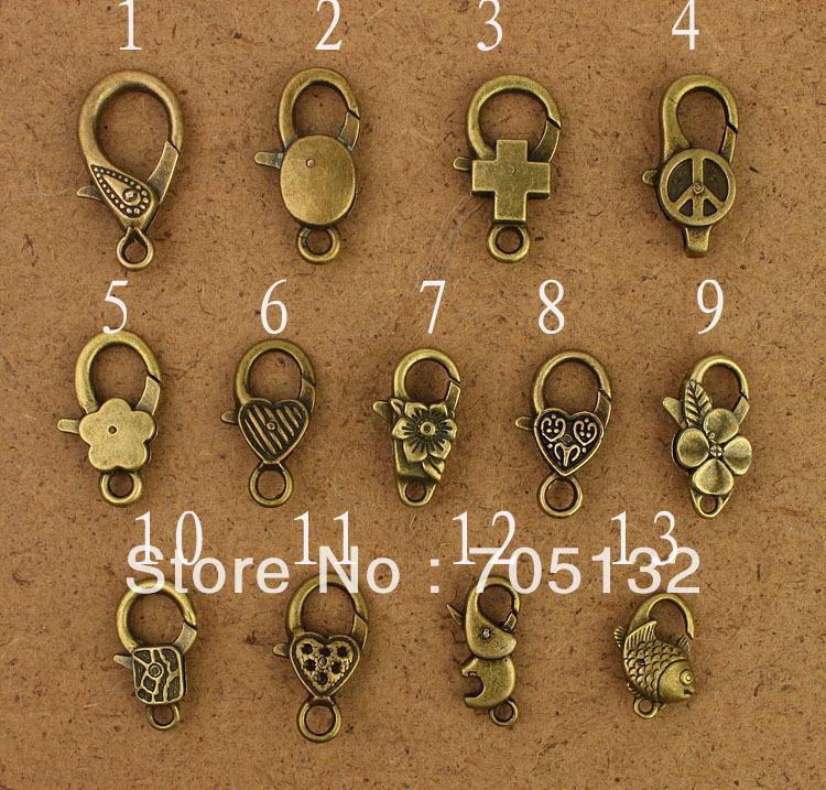 Free Shipping! 13 different designs Zakka Antique Brass Metal Lobster Clasp Hooks,Alloy swivel bolt snaps handbag buckles clasp(China (Mainland))