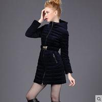 2014 Winter Fashion Black/Navy Blue Velvet Slim Warm Women Hooded Down Jacket Plus Size S-XXL Lady Top Padded Clothes Parka Coat