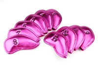 Free Shipping  10pcs  PU Leather Golf Iron Headcover  Pearized Pink color Head cover