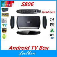 Feelbon S806 Mini PC TV Box Android 4.4 Quad Core Amlogic S802 Mali450 4K 2G/8GB Wifi XBMC Bluetooth