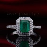100% Natural Emerald Cut 5x7mm Emerald 18K White Gold Engagement Diamonds Ring R0014