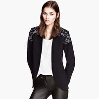 Suit Jacket Silver Applique Embroidered Fruit Collar Blazer Women XS/S/M/L/XL/XXL Blazers