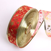 New year 10m Gauze Red Gold With Print Christmas Ribbons For Decoration