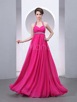 2014 Long Fuchsia Pleated Halter A-line Chiffon Sexy Women's Evening Dress Party Dresses Prom Gowns