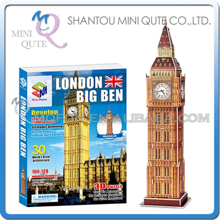 20pcs/lot Mini Qute Big Ben building world architecture 3d paper diy model cardboard jigsaw puzzle educational toy NO.G268-36(China (Mainland))
