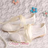 Magic Custom Handmade Off-white Lace Ladies Elegant Flat Shoes Wedding Lace-up Size 7 Free Shipping