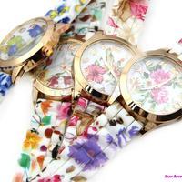 Hot Fashion Women Dress Watch Silicone Printed Flower Causal Quartz Wristwatches Free Shipping
