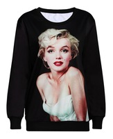 women 2015 clothes pullovers marilyn monroe print 3d sweatshirt sexy girl fashion hoodies plus size