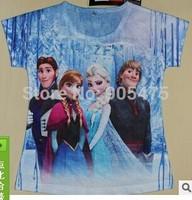 2015 NEW Kids cartoon spring autumn long sleeve tees tops girls Frozen princess t shirts children's fashion cotton t-shirt