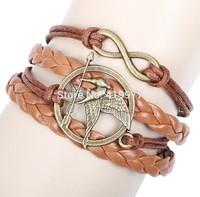 Fashion Handmade Braided Birds Design Infinity Charms Retro Bronze Leather Wrap Bracelet Jewelry For Women Unisex