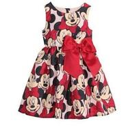 Hot girls cartoon minnie dress kids summer printed princess bow dresses baby lovely sleeveless dress wholesale 5pcs/lot