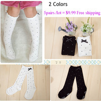 2pair/lot Cotton Girls point Bow Boot Socks Leg Princess Long Winter Warm Knee High Baby Kids Socks For Children