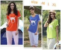 New Summer Free shipping Lovely dog prints round dots sleepshirts woman pajamas sets high quality comfortable nightwear