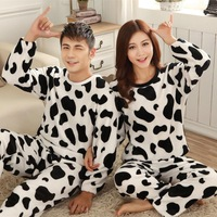 Women Dress Pijama Men 2014 Fall/Winter Pajamas Patchwork Black and white Pattern Dot Pijamas Women and men Casual Wholesale