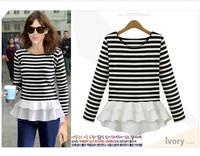 2014 new women's Striped Knit Chiffon Long Sleeve T-shirt shirt blouses free shipping fashion blusas