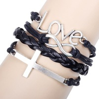 2015 Fashion Vintage Infinity Love Words Letter Cross Braid Leather Bracelet Bangle Jewelry Gift