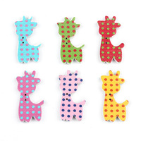 200pcs/lot Mixed Cute Cartoon Animal with Dots Painted Wood Button 30*17mm Wooden Button Embellishment with 2 Holes