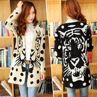 Autumn and winter explosion Korean Tiger Tattoo long sweater knit cardigan coat dress thickening