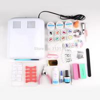 1set Pro High Quality Full Set mix 12 color UV Gel Kit Brush Nail Art Set + 36W Curing UV Lamp kit Dryer Curining New