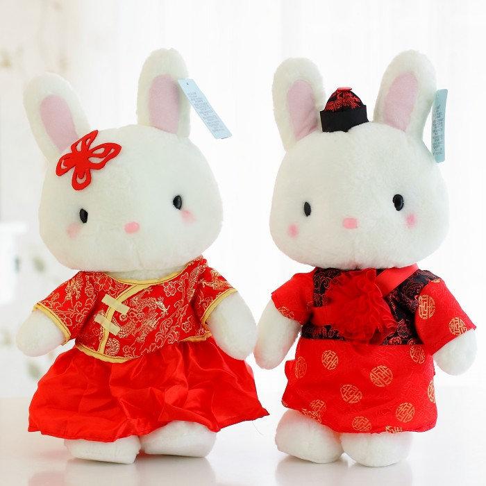 Free shipping Pernycess cute wedding bunny lovely plush Butterfly rabbit baby dollsWedding throwing gifts 2 pcs/lot(China (Mainland))