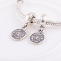 High Quality LUCKY 1 PENNY Pendant Beads charms, 100% 925 Sterling Silver, fits European brand bracelets chain