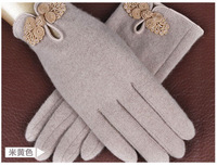 New Fashion Brand New Beige Winter Points Finger Women Wool Thin Section Warm Cashmere Gloves, Free Shipping