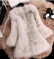EMS Free shipping 2015 Korean new middle-long full pelt  really fox fur coat Korean slim slim coat  jacket  (M-XL)