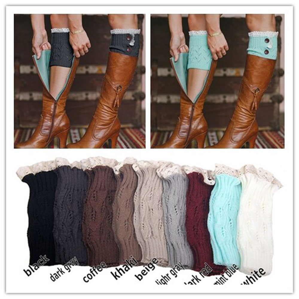 Crochet Knitted Lace Trim Boot Cuffs Toppers Leg Warmers Socks Fashion Women's(China (Mainland))