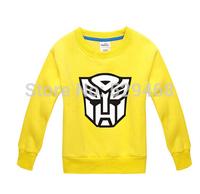 2014 winter children's clothing transformers fleece thickening sweatshirt 100% cotton basic shirt outerwear
