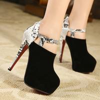 fashion high-heeled lady shoes sexy leopard snake print platform boots platform pumps for night club