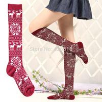 10 Colors Cotton Women's Girl's Autumn Winter Striped snowflake deer pattern Knee-High Socks