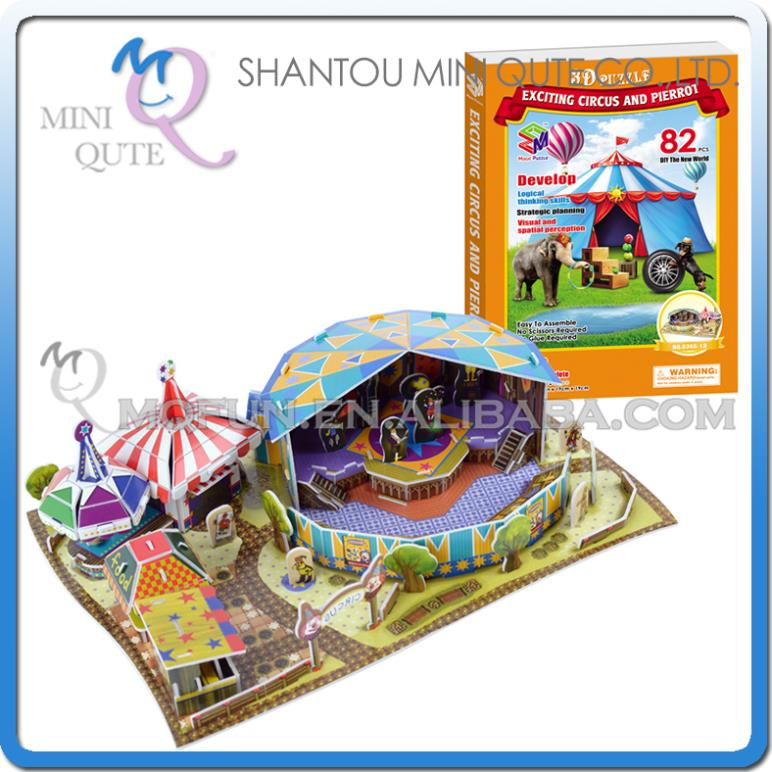 Mini Qute Circus Troup building 3d paper puzzle diy model cardboard jigsaw puzzle game educational toy NO.B368-13(China (Mainland))