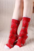 New autumn winter socks women cute cartoon soks Father Christmas elk full cotton socks for girls brand casual meias calcetines
