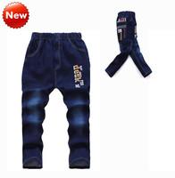 New Fashion Jeans Kids Autumn Trouser Boys Pants Jeans Letter Novelty Elastic Waist Cotton 2014 New Hot Sale Fit7-12Yrs Kids 119
