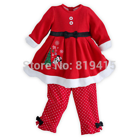Baby Girl Christmas Clothing Set Red Santa Claus Design Baby Dress 5sets/Lot Size 80-90-100-110-120 In Stock Fast Shipping(China (Mainland))