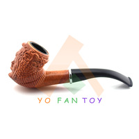 Retro Tobacco Pipe Durable Plastic Smoking Pipes Carving Pattern Cigarette Holder Cigarette Filter #801C